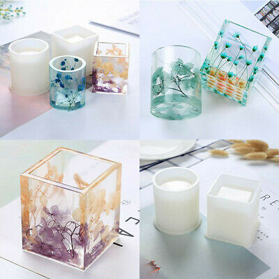 Epoxy Round Storage DIY Molds Resin Holder Silicone Square Container Mold Pen