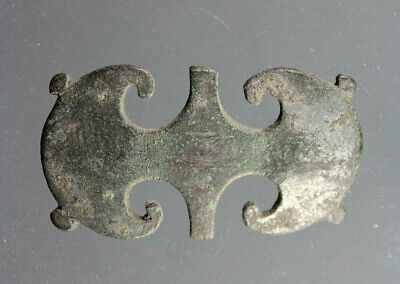 Belt mount with peltate terminals, Bronze, Roman Imperial, 1st-4th century AD