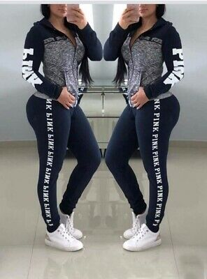 Womens 2 Pcs Set PINK Letter Hoodie Jogger Long Sleeve and Leggings Tracksuit US