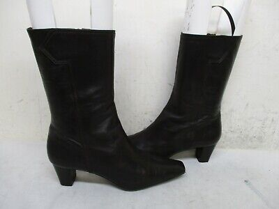Cole Haan Chocolate Brown Leather Zip Mid Calf Boots Womens Size 9 B Sty D20269