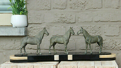 HUGE French Art Deco LIMOUSIN marked Spelter bronze marble horse group statue