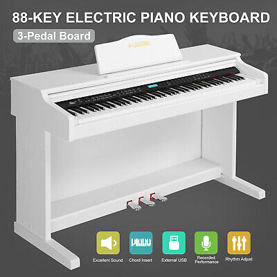 White 88 Key Electric Digital LCD Piano Keyboard w/Stand+Adapter+3 Pedal Board