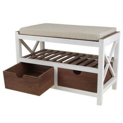 Wooden Bench with 2 Drawers Bench Shoe Cabinet Clothing Closet Shelf Bank