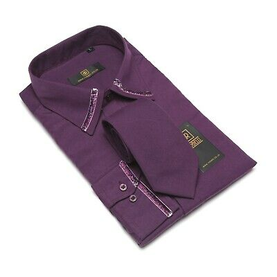 Robelli Purple Bling Glitter Collar Cuff Cotton Blend Dress Shirt & matching Tie
