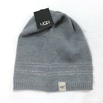 UGG Hat Knit Beanie Sequin Trim Gray Wool Womens Winter New NWT OS