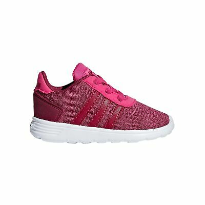 adidas Lite Racer Infant Kids Girls Sports Trainer Shoe Magenta Pink - UK 6