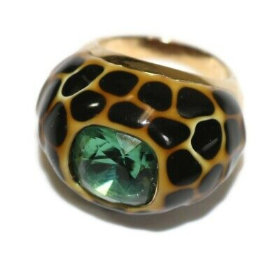 CHEETAH PRINT Animal Leopard With Light Green Center Stone Size 8 Ring