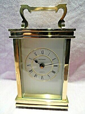 VINTAGE ENGLISH MADE SOLID BRASS QUARTZ CARRIAGE CLOCK BY METAMEC VGC GWO c1970s