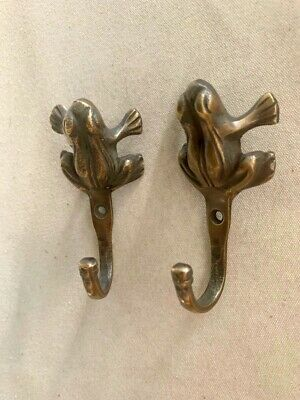 "2 small frog 3.1/4"" Solid Brass hook Strong Wall Mount Coat Hat Hook 8 cm"