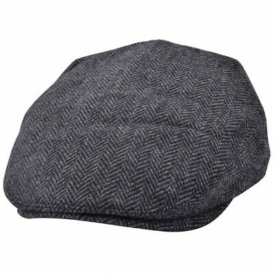 SALE Men's Hat Flat Cap Herringbone by G&H Hats Dark Grey Sizes S to XXL