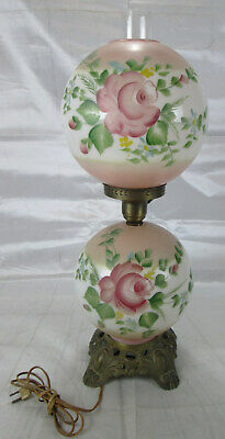 Vintage Hand Painted Table Globe Lamp - double - lights top and/or bottom globe
