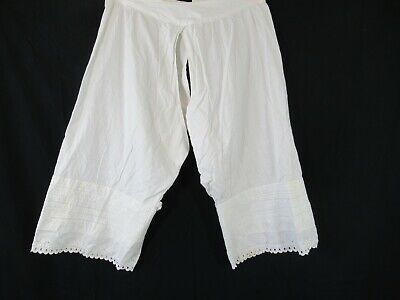 Antique Victorian Pintuck Eyelet Lace Bloomers Split Crotch Pantaloons