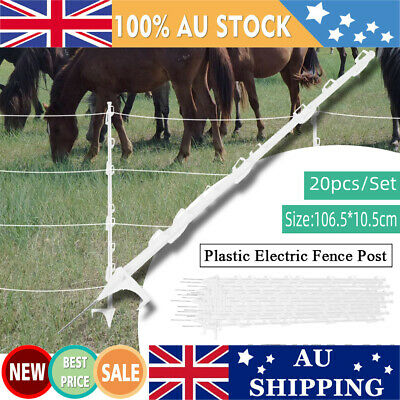 20psc Strip Graze Tread In Poly Posts Electric Fence Wire Tape Fencing Post AU