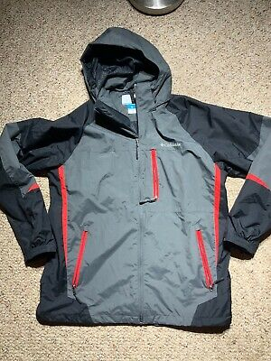 Columbia interchange shell Waterproof jacket gray full zip hooded mens L Large