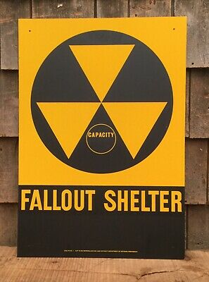 """Vintage Original Retired FALLOUT SHELTER Capacity Reflector Sign 14"""" X 20"""""""