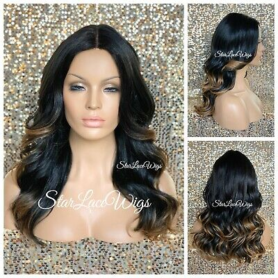 Full Wig Wavy Black Highlights #30 Wavy Long Middle Part Heat Safe