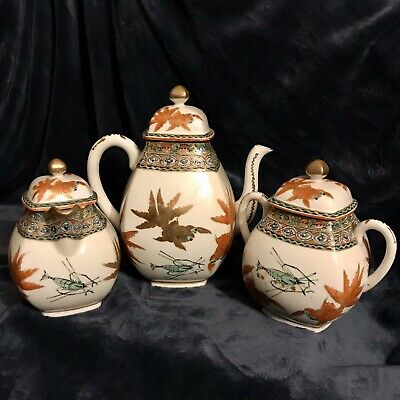 Rare Antique Chinese Export Early 20th-C Wucai Enameled Porcelain Tea Set