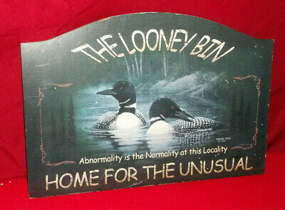 WELCOME TO THE LOONEY BIN Rustic Loon Lake Lodge Log Cabin Home Decor Sign NEW