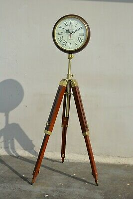 Nautical India Wooden Floor Clock with Antique Finish Stand Vintage Style