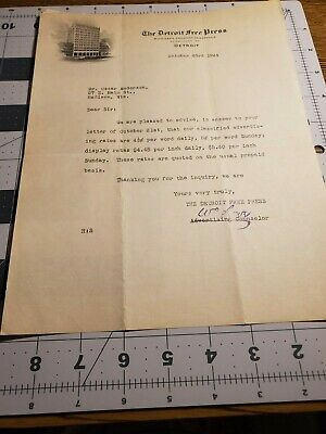 1924 The Detroit Free Press letter on stationary