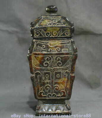 """8.8"""" Old China Han Dynasty Old Jade Carving Palace Beast Face Wine Vessel Bottle"""