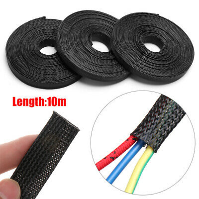 10M Black Insulated Braid Sleeving Flexible Cable Organizer Nylon Storage Pipe