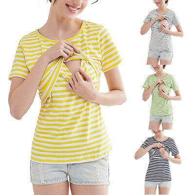 Women Maternity Blouse Breastfeeding Top Short Sleeve Nursing T-shirt Top Stripe
