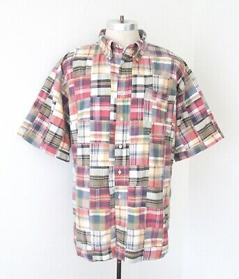 Jos A Bank Red Blue Green Madras Plaid Cotton True Patchwork BD Shirt Pocket 2XL