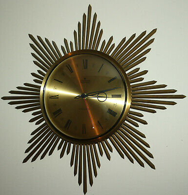 VINTAGE/ANTIQUE MID CENTURY 60s GERMAN SUNBURST JUNGHANS ATO-MAT S WALL CLOCK