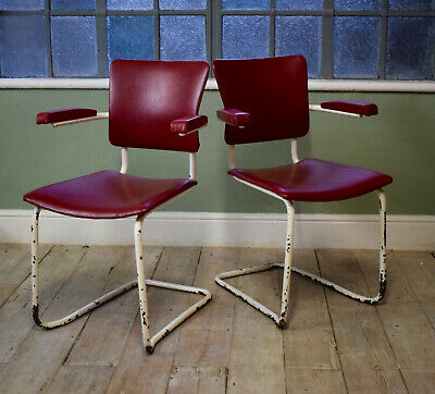 Pair Of Tubular 1970's Modernist Carver Dining Chairs
