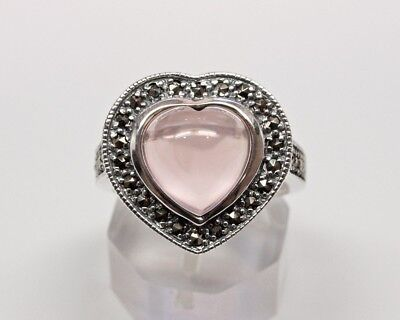 Sterling Silver Heart Shaped Ring with Rose Quartz Center Stone and Marcasites