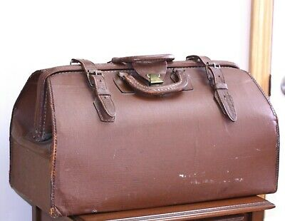 antique Leather Satchel Doctor's Bag striped interior lining buckle straps lock