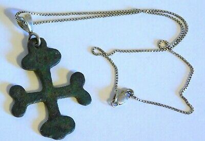 Wonderful Early Antique Iron/Metal Cross Pendant Sterling Silver Bale/Chain