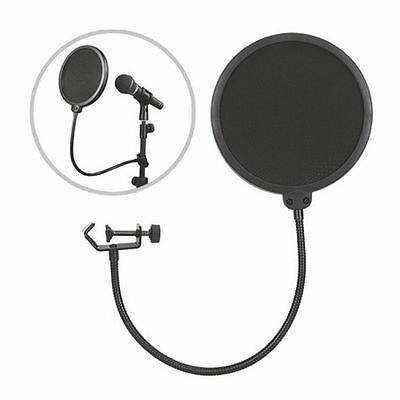 Double Layer Recording Studio Microphone Mic Wind Screen  Filter Mask Shield< EB