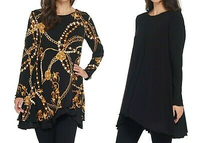 Attitudes Renee Renee/'s Reversibles Tunic Blackberry L NEW A344076