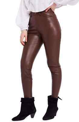 Free People Women's Pants Faux Leather Skinny High Waist Brown Size 26