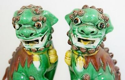 Vtg Chinese Fu Foo Dogs Lions Temple Guardians Shishi 19th Century Pottery Pair