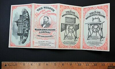 RARE Catalog Brochure Trade Cards 1874 Wilson Shuttle Sewing Machine 5 7 8 9 12