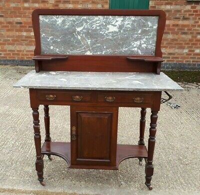 Antique Edwardian Art Nouveau Marble Mahogany Washstand DELIVERY POSSIBLE