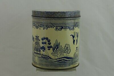 Vintage Tin Can with Lid BLue WIllow Canister