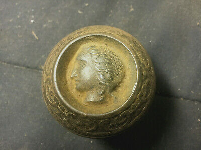 ANTIQUE CAST STEEL ROMAN FACE of WOMAN DOOR KNOB over 100 years old VERY RARE