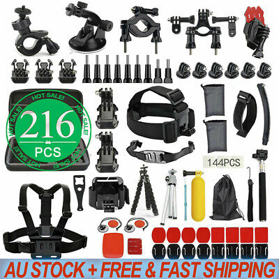 216pcs Accessories Pack Case Chest Head Floating Monopod GoPro Hero 8 7 6 5 4 3+