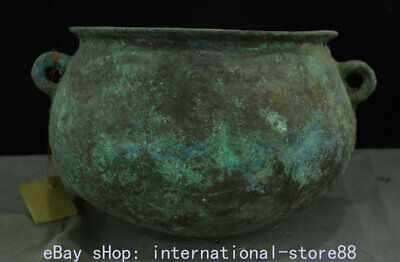 "10.8"" Rare Old Chinese Bronze Ware Xizhou Dynasty Palace 2 Ear Wine Vessel"