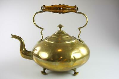 Antique Victorian Brass Teapot Kettle With Glass Handles