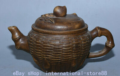 """7.4"""" Marked Old Chinese Yixing Sandy Clay Zisha Bamboo Crate Peach Teakettle Pot"""