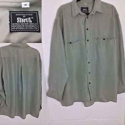 Sinful Pure Silk Mens Unisex 100 % Silk Grey Long Sleeve Shirt Relaxed Fit M