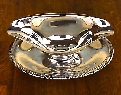 Vintage Silver Gravy Boat Sauce Dish with Underplate - Unmarked
