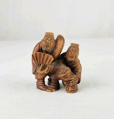 Fine Japanese Carved Box Wood Netsuke Of Two Musicians Signed