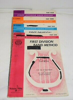 First Division Band Method CLARINET Books Belwin Mills Parts 1 -4