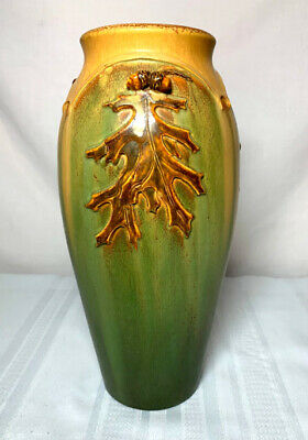 Ephraim Pottery, Acorn & Oak Leaves Tall Vase, Great Arts & Crafts Theme, Nice~~